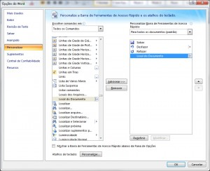 Exemplo de onde fica a opção para personalizar a barra de ferramentas
